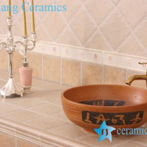 YL-G_7536 China factory direct Pottery material plain style round cabinet top ceramic wash basin sink
