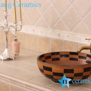 YL-G_7542 Hot sale china factory outlet pottery type round counter top wash basin sink bowl