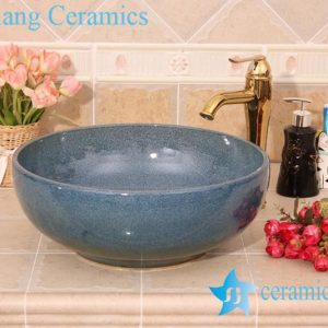 YL-H_6195 Fancy round blue cabinet top ceramic sink lavobo
