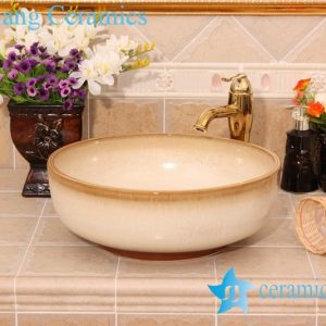 YL-H_6417 Transmutation glaze white ceramic chinaware sink wash basin