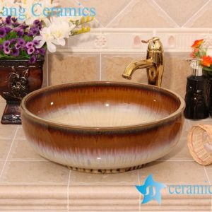 YL-H_6425 Transmutation glaze bright finished fancy round table mount ceramic sanitary ware