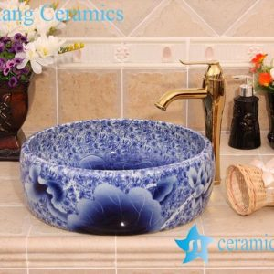 YL-H_6575 Blue and white hot sale low price round bathroom cabinet top art ceramic wash basin sink