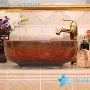 YL-H_6603 Flambe glazed ceramic chinaware round wash basin sink vanity top