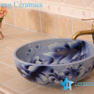 YL-H_6820 Blue and white mangnolia flower design round porcelain shampoo sink basin