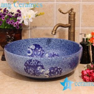 YL-H_6920 Blue and white chinaware round cabinet top wash basin sink vanity
