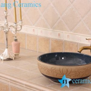 YL-H_7532 Hand carved no glazed outside dark blue glazed inside round ceramic chinaware corner bathroom sink