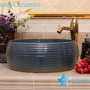 YL-H_8278 Solid color glazed line marking waist drum shaped round porcelain corner sink basin
