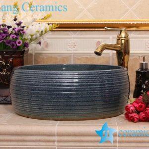 YL-H_8278 Solid color glazed line marking waist drum shaped round porcelain corner sink basin