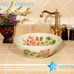 YL-M_4002 Gorgeous peony flower design bathroom porcelain ceramic wash hand rinse