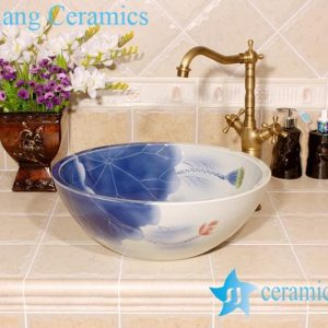 YL-M_4003 Fairy lotus and lotus seed design porcelain ceramic wash hand rinse sink trough for outdoor or bathroom