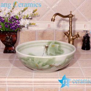 YL-M_4010 Light green round ceramic hand wash basin sink