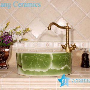 YL-M_4022 Green lotus leaf design round porcelain cabinet top bathroom sink bowl