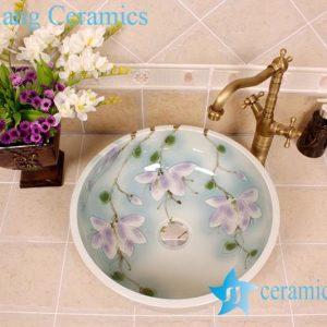 YL-M_4099 Hot sale elegant fancy flower design light blue Chinese bathroom sink colored sink