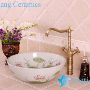 YL-M_4160 Factory direct low price popular lotus design table top round clay ware wash basin sink bowl