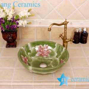 YL-M_4179 China ware vitreous finished green round porcelain corner sink