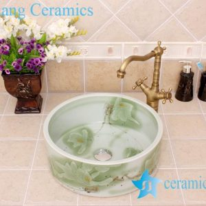 YL-M_4336 Round fancy light green floral design cabinet mount freestanding type wash basin sink