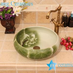 YL-M_5685 Green lotus and lotus leaf pattern round table above fountain basin