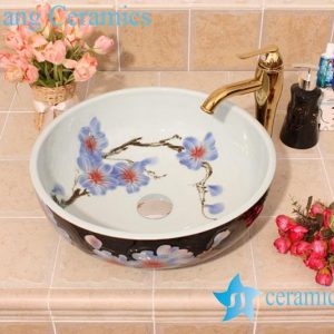 YL-M_6253 Black outside white inside vitreous china ware counter top vessel sink basin
