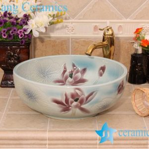 YL-M_6435 For floor and wall hand carving ceramic shampoo sink