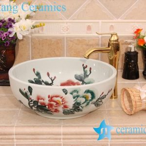 YL-M_6559 Thicken wall hand painted ceramic round cabinet top bathroom sink basin bowl