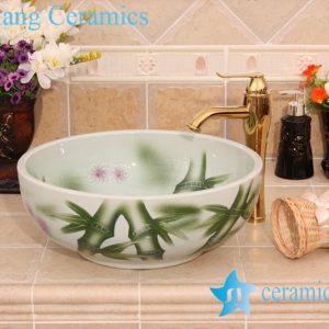 YL-M_6562 Bamboo design green round ceramic sink basin bowl
