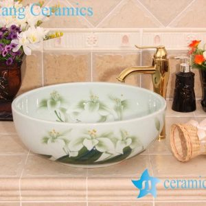 YL-M_6571 Lily floral design green counter top hand wash rinse sink