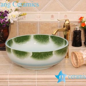 YL-M_6584 Green lotus leaf thicken wall round freestanding fountain basin