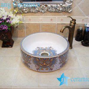 YL-OT_0641 Fancy round freestanding ceramic lavatory