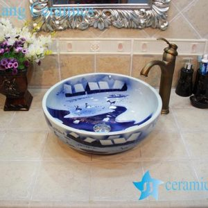 YL-OT_0644 Merry chirstmas winter blue and white ceramic sink for bathroom
