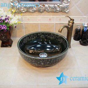 YL-OT_0651 Hot sale shinny black round ceramic bathroom corner sink
