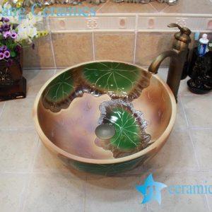 YL-OT_0734 Thicken wall brown ceramic art stainless sink