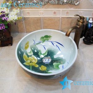 YL-OT_0738 Thicken wall lotus ceramic sink basin