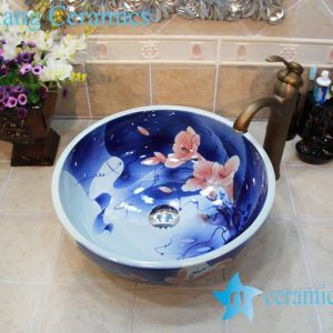YL-OT_0761 Blue and white trumpet flower ceramic wash hand station sink basin
