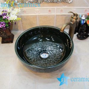 YL-OT_0771 Black ceramic hair washing sink