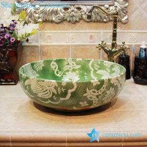 YL-OT_1659 Green ceramic garden household basin