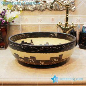 YL-OT_1667 Black unique home depot bathrooms ceramic hand wash sink