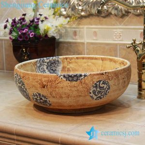 YL-OT_1733 Blue and white round unique one piece bathroom sink and counter top sink