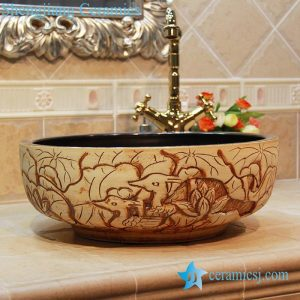 YL-OT_1863 Lotus carving design portable ceramic bathtub for children