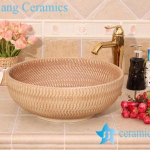 YL-O_6196 Hand carving ceramic mini wash basin