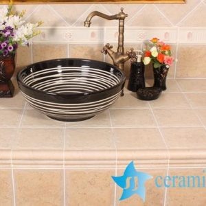 YL-O_8552 Modern type round outdoor vortex line pattern pottery wash basin