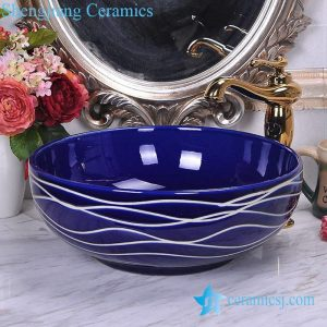 YL-O_8746 Low price dark blue china ware hand wash basin