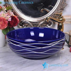 YL-O_8746 Low price dark blue china ware hand wash basin