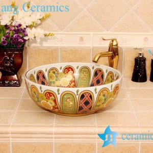 YL-P_4817 Morocco style royal court colored ceramic bathroom sink