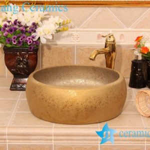 YL-R_6421 Golden round ceramic drum waist shape ceramic foot wash basin