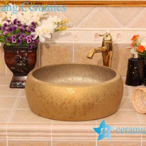 YL-R_6421 Golden round ceramic drum waist shape ceramic foot wash basin
