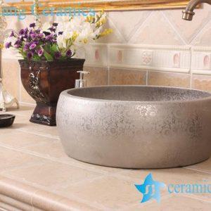 YL-R_8530 YL-R_8594 Golden silver gilded ceramic mini wash basin