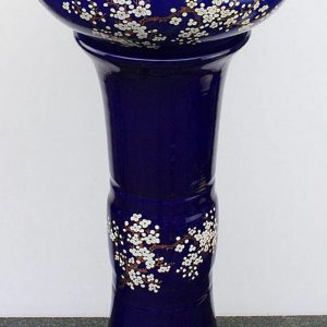 YL-TZ-0002 Craig blue plum blossom pattern pedestal wash basin sink for hardwood floor