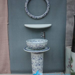YL-TZ-0003 Blue and white floral design pedestal mop sink with mirror frame