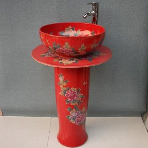 YL-TZ-0009 Shiny red ceramic pedestal wash hand high heel peony flower pattern wash basin sink