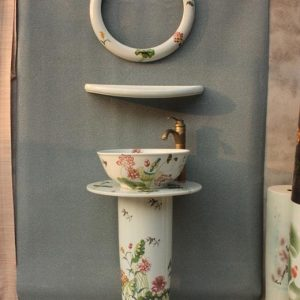 YL-TZ-0013 Lotus flower pattern elegant pedestal ceramic wash basin bowl with mirror frame and dresser